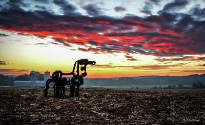 Photograph - Red Dawn The Iron Horse Sunrise Landscape Farming Art by Reid Callaway