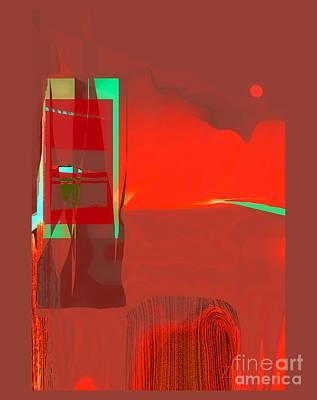 Digital Art - Red Door To Santa Fe Sunset by Zsanan Narrin