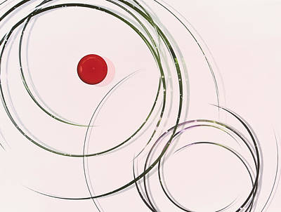 Digital Art - Red  Dot Within Circles by Hiroshi Yagi