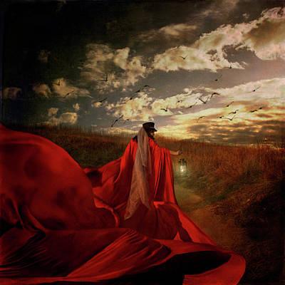 Photograph - Red Dress Woman by Trini Schultz