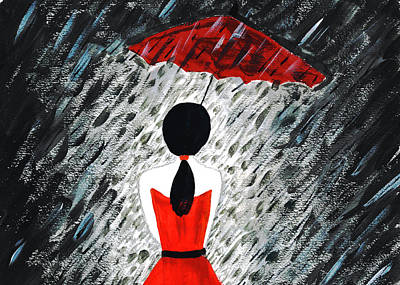 Mixed Media - Red Dress Woman With Umbrella In Night Time Rain Storm Shower by Steven Clarke