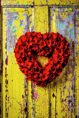 Photograph - Red Floral Heart Wreath by Garry Gay