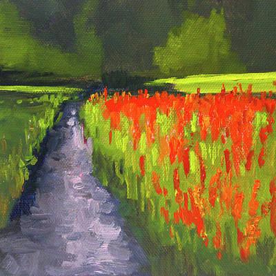 Painting - Red Flower Field by Nancy Merkle