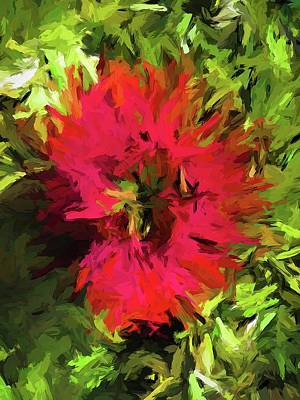 Painting - Red Flower Flames by Jackie VanO