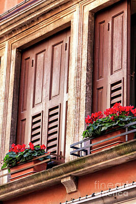Photograph - Red Flowers By The Window Venice by John Rizzuto