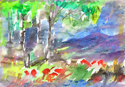 Painting - Red Flowers Grow On The Edge Of The Forest by Dobrotsvet Art