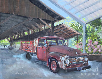Painting - Red Ford And Pink Flowers by Jan Dappen