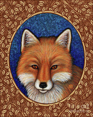 Painting - Red Fox Portrait - Brown Border by Amy E Fraser