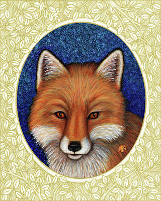 Painting - Red Fox Portrait - Cream Border by Amy E Fraser