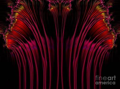 Digital Art - Red Fuchsia And Gold Fireworks Fractal Abstract by Rose Santuci-Sofranko