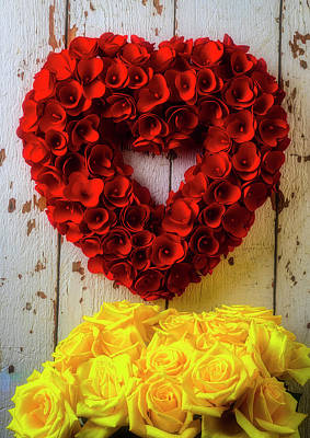 Photograph - Red Heart Wreath And Yellow Roses by Garry Gay