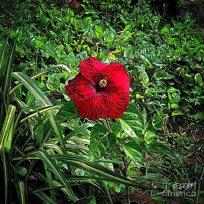 Digital Art - Red Hibiscus by Laura Forde