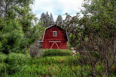 Photograph - Red House Over Yonder by Alison Frank