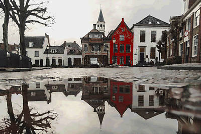 Digital Art - Red House With Reflection by Shelli Fitzpatrick