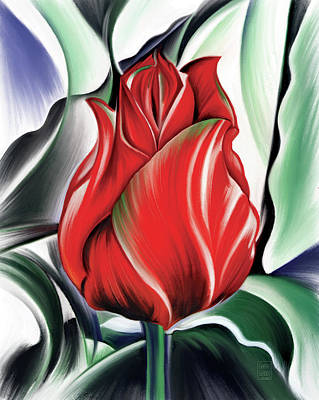 Digital Art Rights Managed Images - Red Jewel of Spring Royalty-Free Image by Garth Glazier