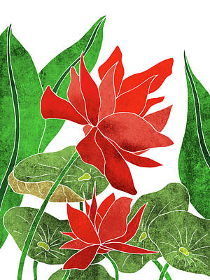 Lilies Mixed Media - Red Lotus flower - Botanical, Floral, Tropical Art - Modern, Minimal Decor - Red, Green by Studio Grafiikka