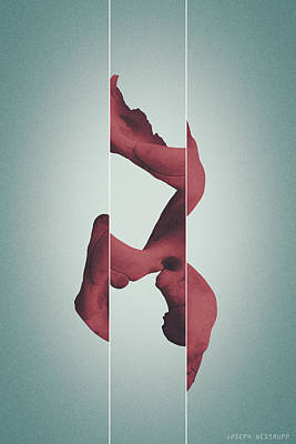 Photograph - Red Memorism - Surreal Abstract Elephant Bone Collage With Lines by Joseph Westrupp