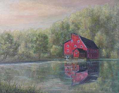 Painting - Red Mill Clinton New Jersey by Katalin Luczay