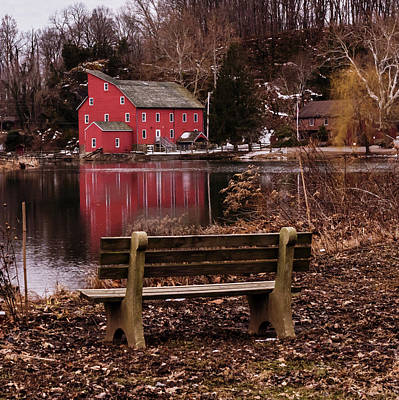 Photograph - Red Mill Reflection Clinton New Jersey Square by Terry DeLuco
