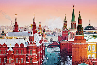 Photograph - Red Moscow At Winter Sunset by Mordolff