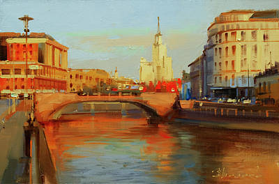 Painting - Red Moscow. Small Moskvoretsky Bridge. by Alexey Shalaev