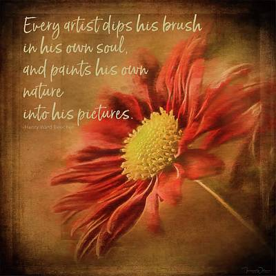 Photograph - Red Mum Art Quote by Teresa Wilson