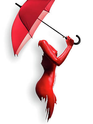 Modern Sophistication Minimalist Abstract - Red Painted Body with Umbrella by Johan Swanepoel