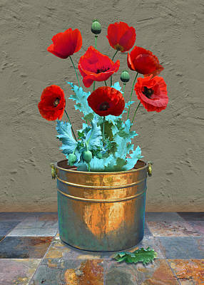Digital Art - Red Patio Poppies by M Spadecaller