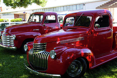Impressionist Landscapes - Red Pickups by Jeff Roney