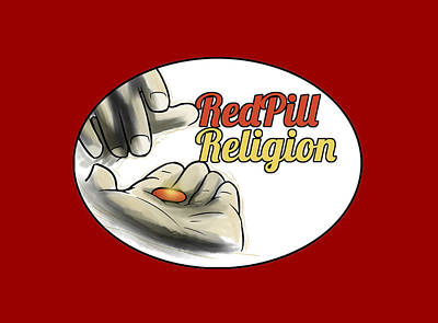 Digital Art - Red Pill Religion logo on red by Slawomiro