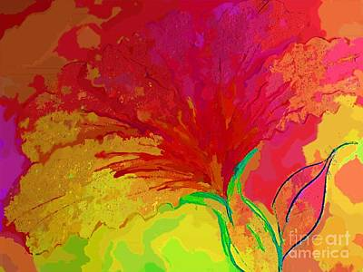 Digital Art - Red Pink Yellow Flower Impression By Delynn Addams by Delynn Addams