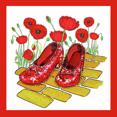 Baum Wall Art - Painting - Red Poppies Field And Ruby Slippers Wizard Of Oz by Irina Sztukowski