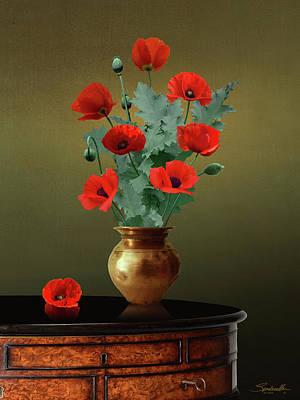 Digital Art - Red Poppies In Vase by Spadecaller