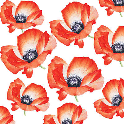 Painting - Red Poppy Flower Pattern In Watercolor By #mahsawatercolor by Mahsa Watercolor Artist