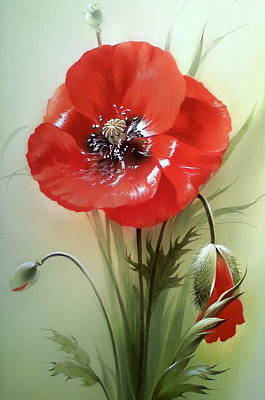 Owls - Red Poppy Flower with Bud by Alina Oseeva