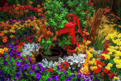 Photograph - Red Pump In Flower Garden by Garry Gay