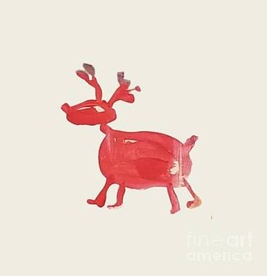 Painting - Red Reindeer by Maria Langgle