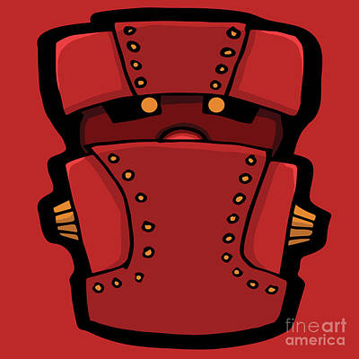Digital Art - Red Robot Head 04 by Sean McMenemy
