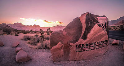 Photograph - Red Rock Canyon At Sunset Near Las Vegas Nevada by Alex Grichenko