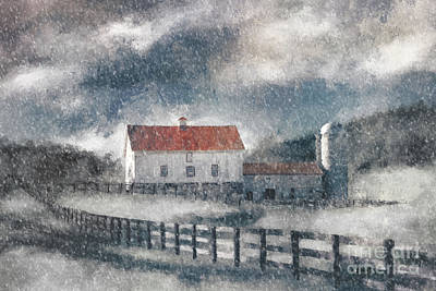 Digital Art - Red Roof Barn In Winter by Lois Bryan