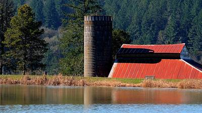 Photograph - Red Roof Silo Reflections by Jerry Sodorff