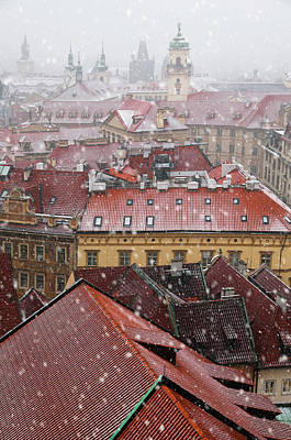 Photograph - Red Roofs Of Snowy Prague  by Jenny Rainbow