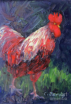 Painting - Red Rooster Stroll by Carolyn Jarvis