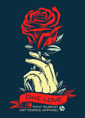 Painting - Red Rose One Love by Tony Rubino