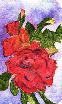 Painting - Red Roses  by Andrea Rubinstein