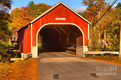 Photograph - Red Sawyers Crossing Covered Bridge by Adam Jewell