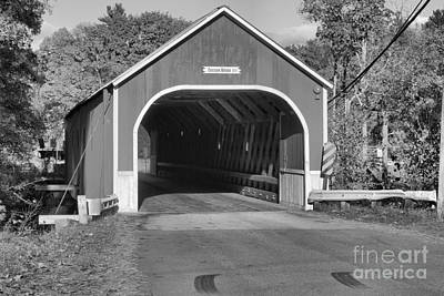 Photograph - Red Sawyers Crossing  Covered Bridge Black And White by Adam Jewell