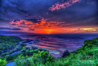 Photograph - Red Sky Reflections 2 Waimea Bay Sunset North Shore Oahu Hawaii Art by Reid Callaway