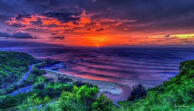 Photograph - Red Sky Reflections Waimea Bay Sunset North Shore Oahu Hawaii Art by Reid Callaway