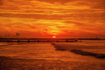Photograph - Red Sky Sunrise - Ocean City  by Bill Cannon